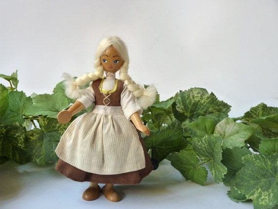 Polish Wooden Doll with blonde braids and striped apron