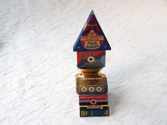 Vintage gummed reinforcements, labels and pencil holder, desk set stacking toys