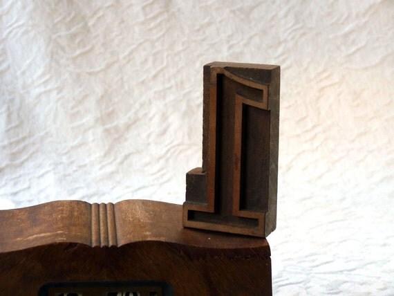 Letterpress Number One, Vintage Wooden Numeral 1