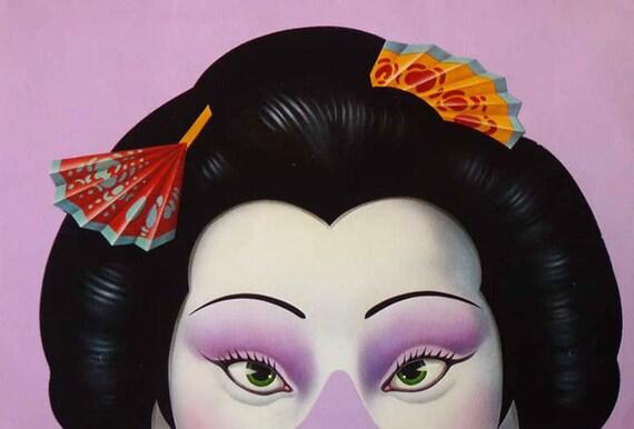 Geisha Mask, Paper Moon Card 1980