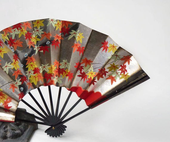 Hand painted Fan, Japanese, Two sided, Spring and Fall