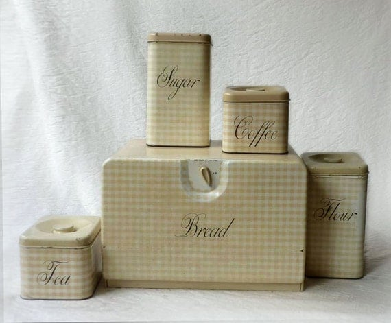 Vintage Bread Box and Canister sets, retro checked kitchen tins by Harvell Kilgore