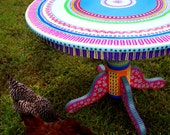 SOLD sample of CUSTOM WORK- Colorful Kitchen Table- Hand Painted Made to Order