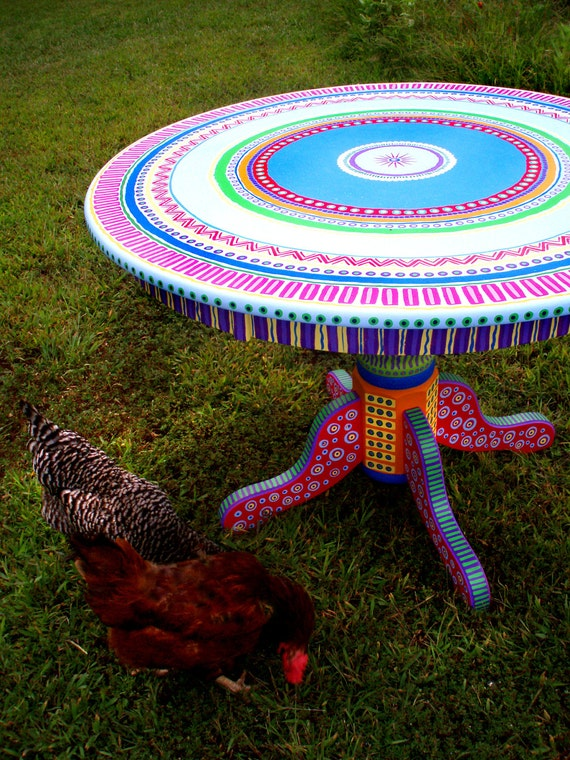 sold sample of custom work colorful kitchen table hand