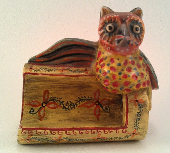 Owl Wooden Carved Business Card Holder from Guatemala