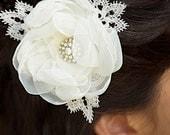 SALE Ivory Bridal Hair Flower Fascinator Wedding Hair Accessories Sparkly Rhinestone Center - Ready to Ship - SHIRLEY