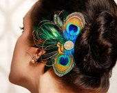 Peacock Feather Bridesmaid Hair Accessories Wedding Fascinator Hair Clip Crystal Rhinestone - Made to Order - NADINE