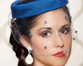 Royal Blue, Cobalt Blue Bridal Cocktail Hat, Light Blue Polka Dot Birdcage Veil, Vintage Wedding Pillbox Hat - One of a Kind - VALERIE