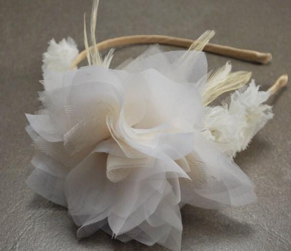 SALE, Ivory, Champagne, Romantic, Bridal Headband, Organza, Feather, Flower, Wedding Crown - Ready to Ship - SADIE