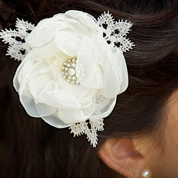 SALE Ivory Bridal Hair Flower Fascinator Wedding Hair Accessories Sparkly Rhinestone Center - Ready to Ship - SHIRLEY