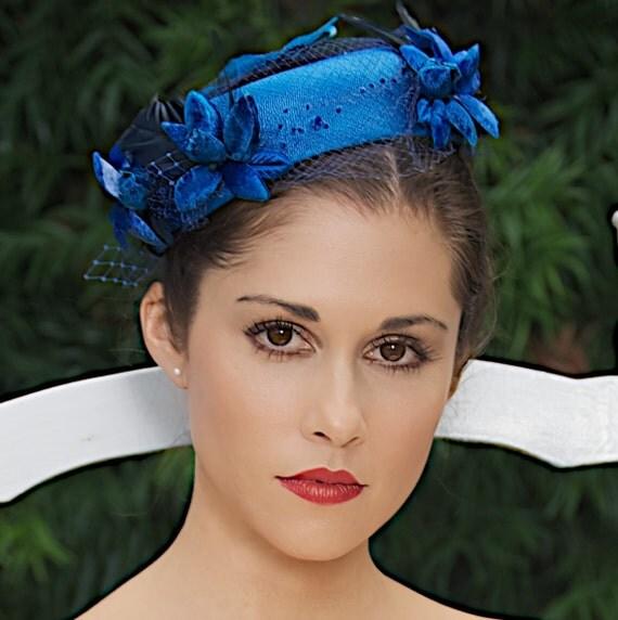Royal Blue Cobalt Blue Wedding Hat Bridal Head Piece