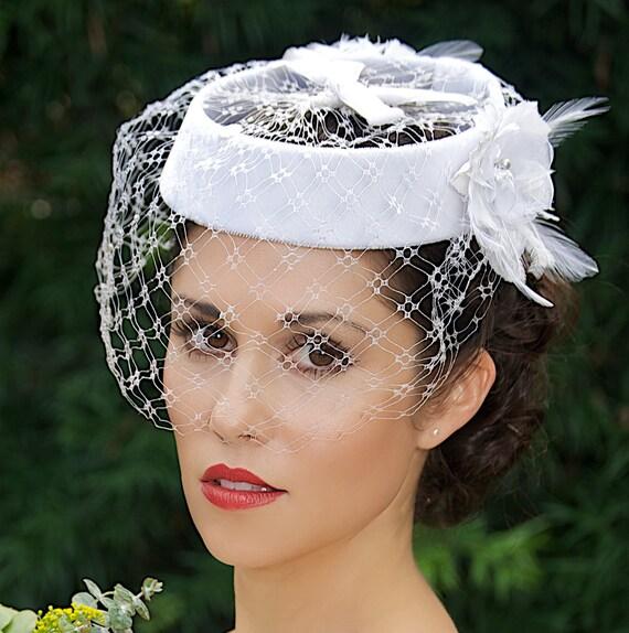 SALE White Bridal Hat Veil Hat Bridal Head Piece Birdcage