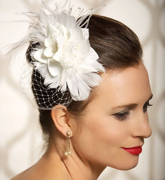 Ivory Bridal Headpiece, Birdcage Veil, Wedding Hair Clip, Bridal Hair accessories, Ivory Fascinator - Read to Ship - CHERISSE