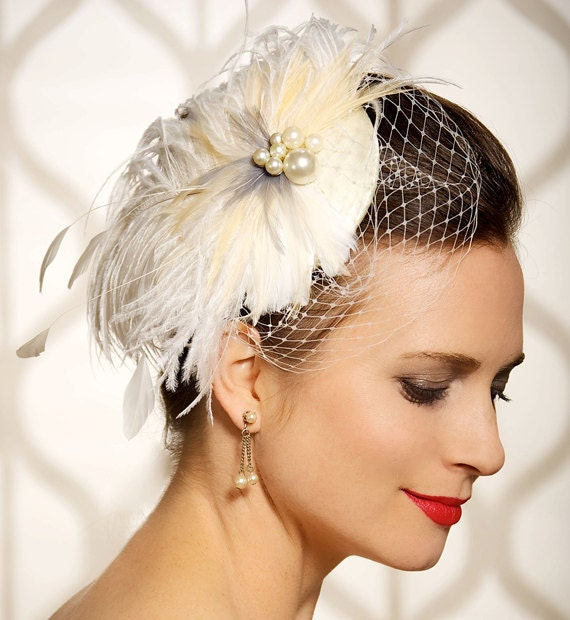 Wedding Hairstyles With Headpieces: Items Similar To Bridal Fascinator, Birdcage Veil, Bridal
