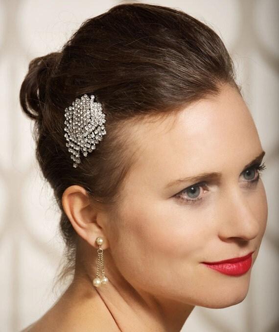 Silver Crystal Headpiece, Bridal Hair Comb, Peacock Brooch, Art Deco, Bridal Hair Piece, Wedding Hair Accessories - Rhinestone Cluster