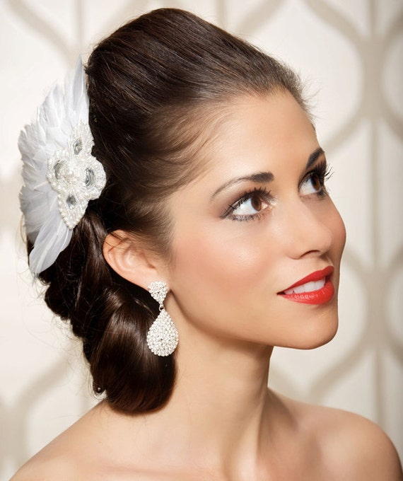 SALE Art Deco Bridal Headpiece White Rhinestone Fascinator Hair Piece, Wedding Hair Accessories,  Wedding hair clip - Ready to Ship - TONI