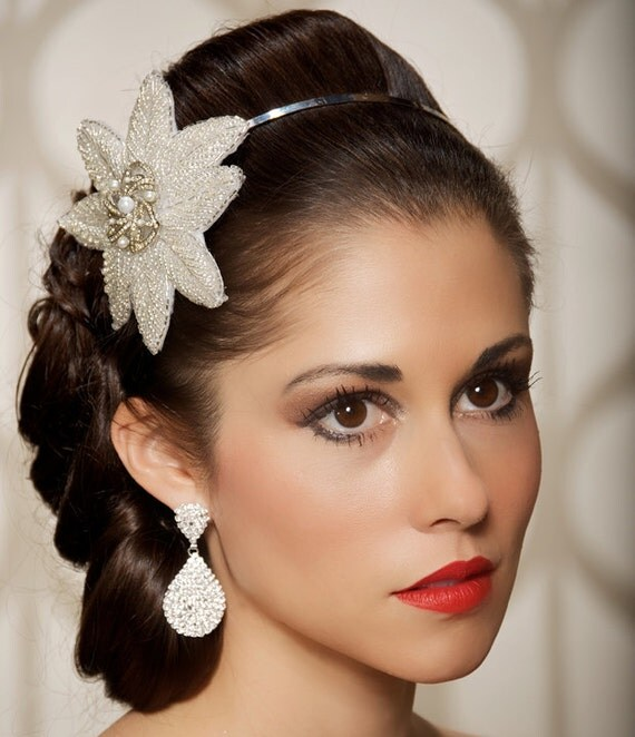 SALE Art Deco Rhinestone Silver Headband, bridal headband, Vintage Brooch - Ready to Ship - CLARA