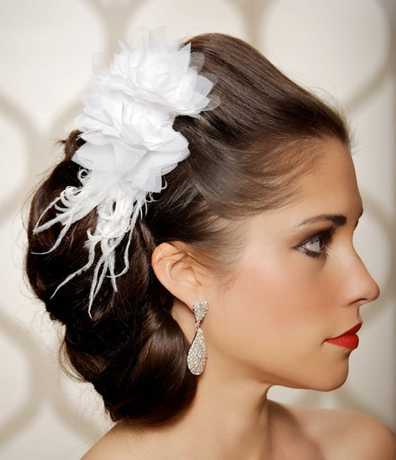 SALE White Bridal Hair Flower, Wedding Head Piece, Fascinator, Bridal Hair Comb Feather Hair Clip, Vintage Jewel - Ready To Ship - LYDIA