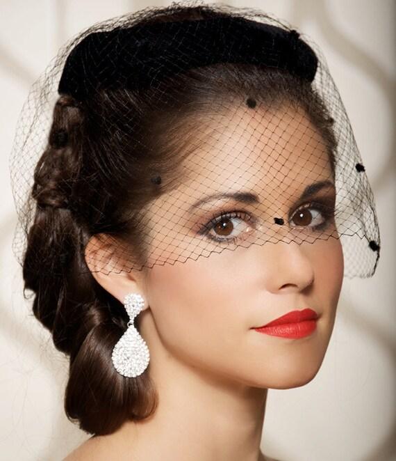 Vintage Wedding Hairstyles With Birdcage Veil: Black Bridal Headpiece Birdcage Veil Polka Dot Veil Vintage