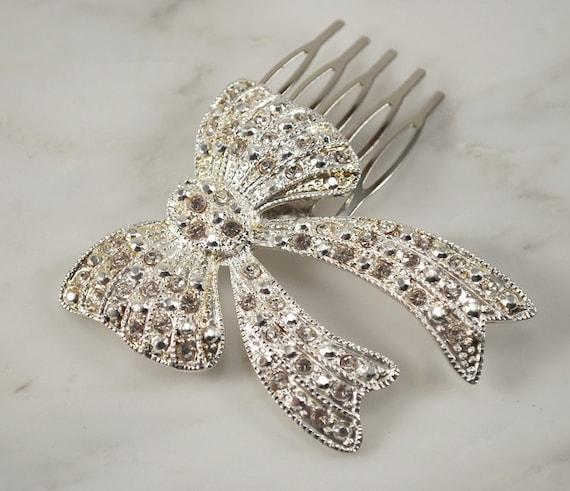 Rhinestone Bridal Hair comb Vintage Hair Brooch Wedding Jewel Comb Wedding Hair Accessories - Ready to Ship - Rhinestone Bow