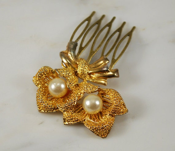 SALE Gold Flowers and Pearls Brooch Bridal Hair Comb Hair Jewelry Wedding Hair Accessories - One of a Kind and Ready to Ship