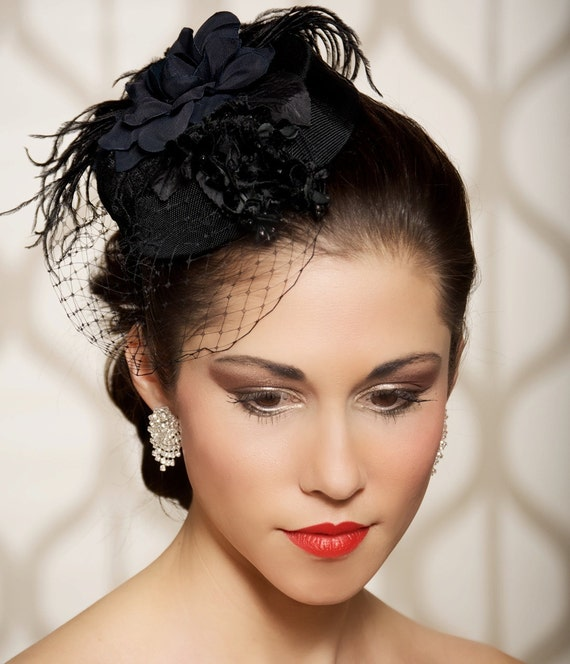 Black Flower Fascinator Hat: Black Bridal Hat Black Head Piece Wedding Fascinator Old