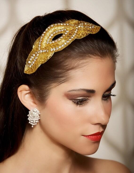 SALE Gold Rhinestone Headpiece Fascinator Bridal Hair Comb Wedding Hair Piece - Ready to Ship - VERA GOLD
