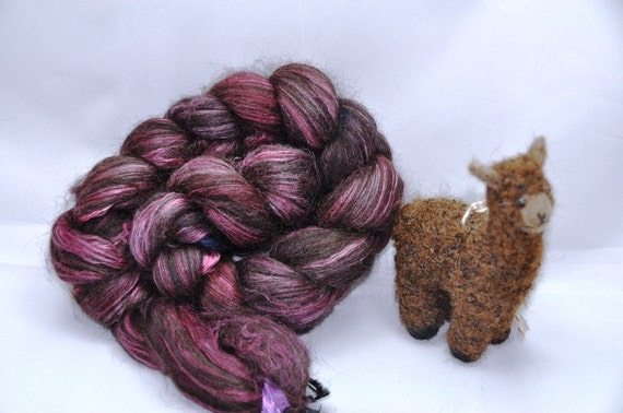 Black alpaca & Silk 80/20 amythest purple 4.3 oz