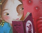 Illustration art print for children, misterious climate, girl reading in the night, dragon and bird's book.