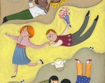 """Original fine art Children illustration. """"In love"""" // My Valentine // Valentine's present."""