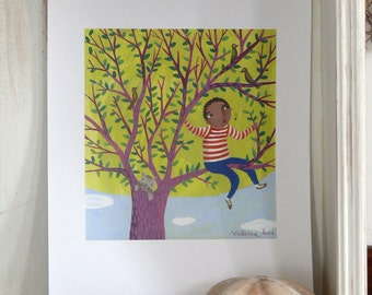 "Printable Children art ""Up in the tree"" Black boy with bird and cat downloadable file. Christmas present illustration for kids DIY printable"