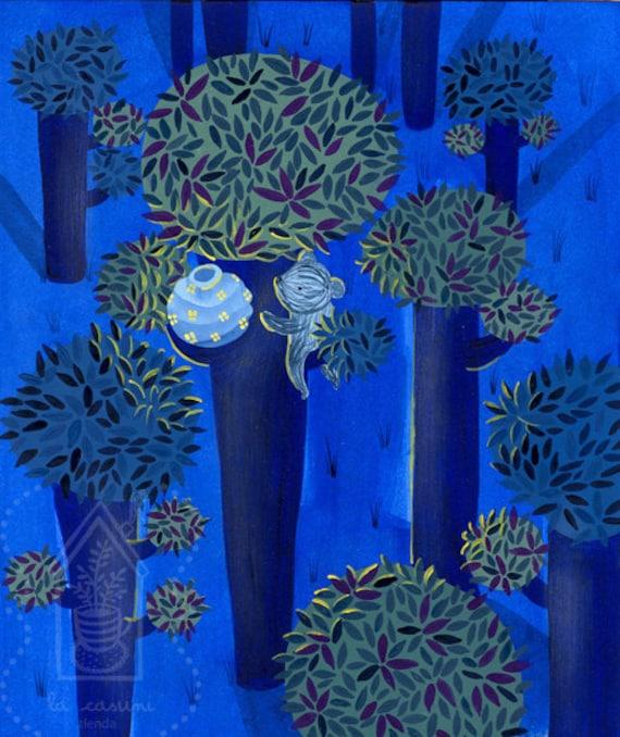 """Original fine art Children illustration. """"Bear in a tree at night"""""""