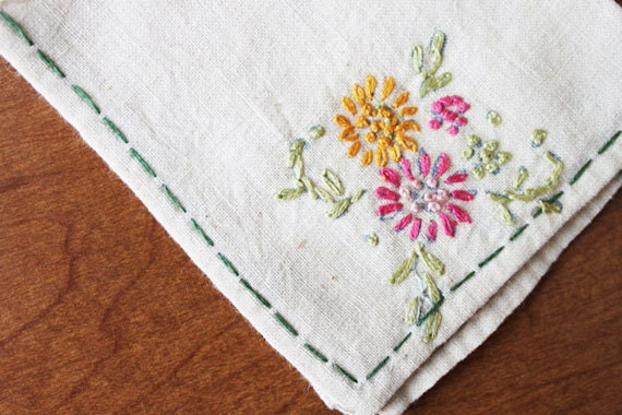 Cheery Floral Cocktail Napkins, Vintage, Embroidered