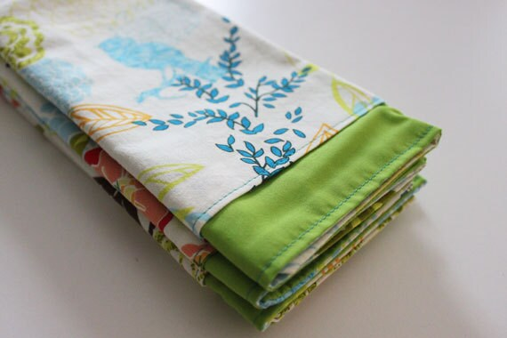 Cloth Napkins, Birds & Floral Design