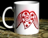 winged heart with stars sublimation printed mug