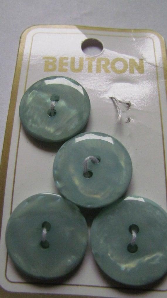 Vintage Blue-Green Buttons - Set of 4