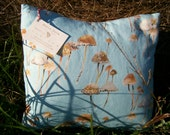 mushrooms on robin's egg blue pillow - original fabric design by maria pace