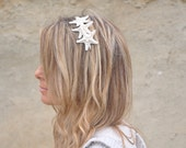 Triple Knobby White Starfish on Silver Metal Headband