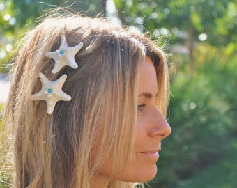 White Starfish Barrettes, Sparkly Fun, two included on Alligator Clips