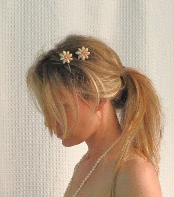 Shell Hair Clips, Flower Cowry Shell Hair Clips