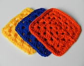 Instant Crayola bright and colorful mod retro granny square 5 x 5 inch crochet coasters doilies hotpads