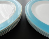 Now ON SALE Vintage 1950s 1960s Pyrex Milk Glass Dinner Plates with Turquoise Band and Gold Stripe Set of 4