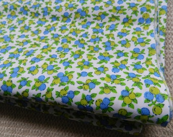 Vintage Lime and Light Blue Berries New Old Cotton Fabric for Sewing Projects Crafts Spring Decor 2.5 yards+