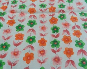 Flower Power Vintage Pink Orange and Green Cotton Fabric for Sewing Projects Crafts Decor 3 yards