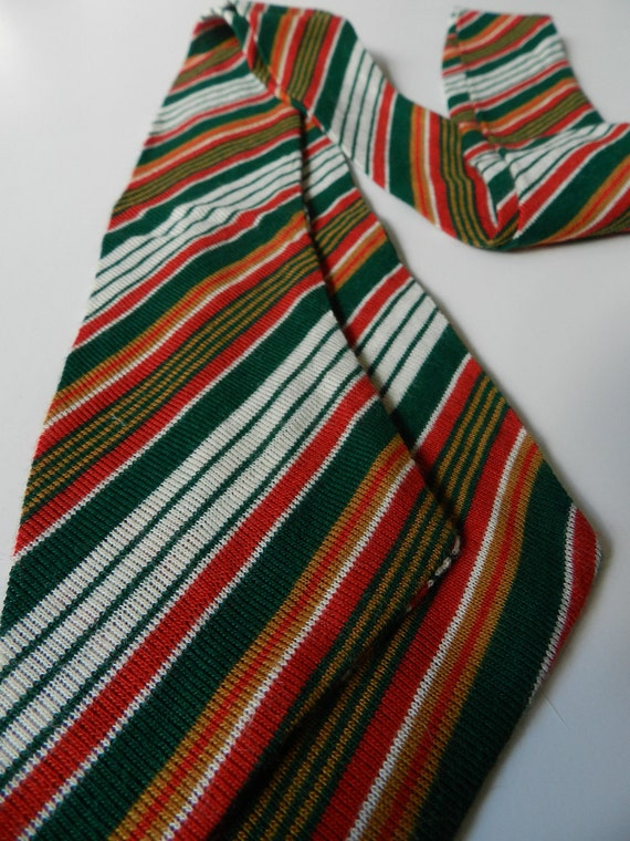 All About the Stripes Green Red Khaki White Pencil Scarf Skinny Scarflette Headband