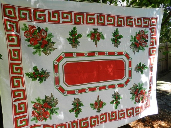 Early Bird DISCOUNT Vintage Christmas tablecloth with red green Greek key border holly berries pine and shiny bright ornaments