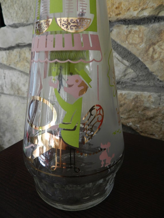Reserved Mod Pink Green Gold Wine Bottle Man with Pink Poodle at Cafe Bistro Clear and Frosted Glass