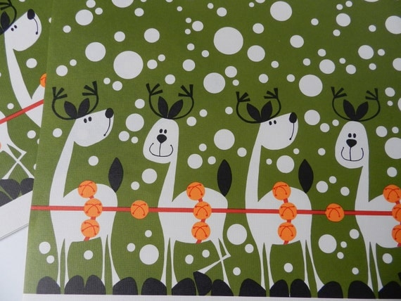 Avocado Green and White Polka Dots Reindeer Christmas Paper Placemats use for Kids Table, Scrapbooking or Crafts