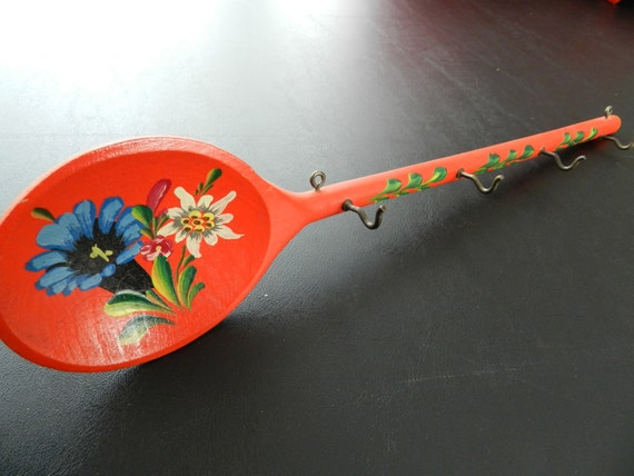 Handpainted wooden spoon in red with hooks Norwegian Dutch colonial style shabby chic folk art  Rosemaling
