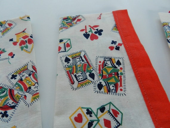 Vintage playing card theme napkins in red, black, green, yellow on white cotton Set of 4